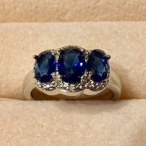 Jewelry - Ring: Lab Created Blue Sapphire, Diamond Accent.